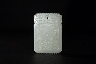 Chinese White Jade Plaque of Scholar, 18th Century