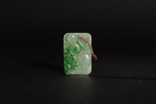Chinese Jadeite Pendant with Lingzhi, 19th Century