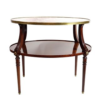 Louis XVI Style Mahogany Two Tiered Side Table