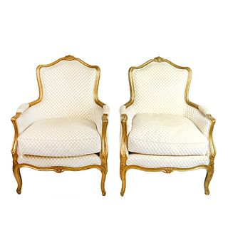 Louis XVI Style Gilt Carved Bergere Chairs