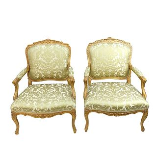 Pair of French Style Fauteuil Chairs
