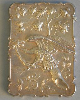 "Silver card case with embossed eagle, 3 1/2"" x 2 1/2"", 1.3 t.oz."