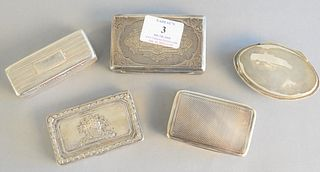 "Five silver snuff or tobacco boxes having hinged covers to include one marked Charles Knapp from William De Ford, largest lg. 3 3/4"", gold wash interi"