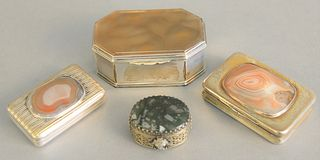 "Four silver boxes mounted with stone covers, snuff boxes, small pill box with stone bottom, largest lg. 3 1/2"", 10.2 t.oz."