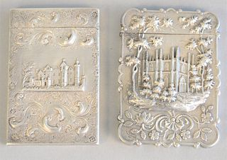 "Two silver castle top card cases, ht. 3 1/2"", 3.6 t.oz."