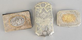 "Three piece silver lot to include cigar box, hinged box and memo pad, each with gold trim, tallest 5"", 4.3 t.oz."