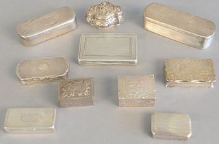 Ten small silver boxes to include snuff, pill and tobacco boxes some having hinged tops, Dutch incised landscape scene, figures, etc., 13.2 t.oz.