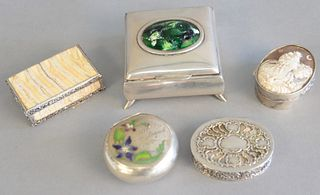 Five various silver boxes with mother of pearl to include shell cameo and 2 enameled, one with mother of pearl insert, a tortoise shell and silver box