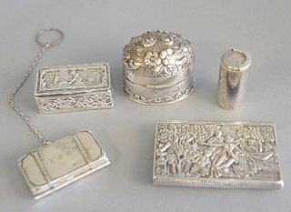 Group of five silver boxes, Tiffany sterling coin case, coin case in the form of a briefcase, snuff bottle, case with hinged lid and a small powder bo