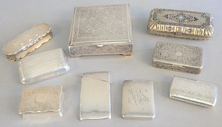 "Group of nine silver boxes, hinge lid boxes, money cases, enamelled silver box, etc., largest 4"" x 4"" top."