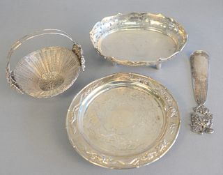 Four piece Chinese silver group to include shoe horn, 2 baskets and a dragon dish, 21.5 t.oz.