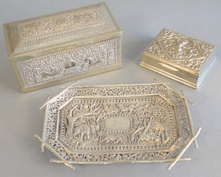 "Group of three Indian silver pieces to include silver box, ht. 3 1/2"", lg. 8"", with cover having scrolling vine and animal decoration and tome top, mi"