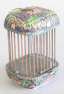 "Chinese enamelled miniature birdcage with pull up door, ht. 4 1/2"", top 3"" x 3""."
