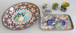 "Six piece cloisonne lot to include charger, dia: 14"", rectangle tray, 3 containers, 1 small tray."