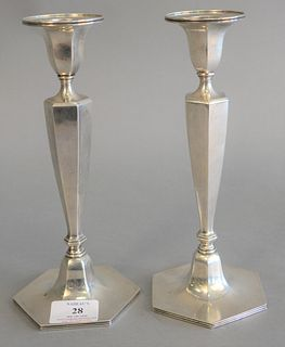 "Pair Tiffany & Co. sterling silver candlesticks, ht. 9 1/2"", 19 t.oz."