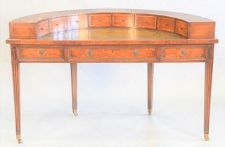 "Mahogany desk with leather writing surface, chips to veneer in back, ht. 36"", wd. 55"", dp, 25""."