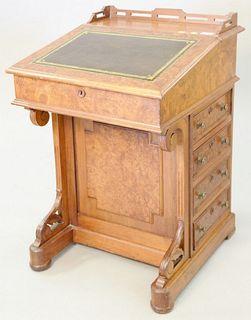 "Walnut and burl walnut Davenport desk, ht. 33"" x wd. 22""."