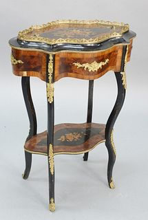 "French style stand, marquetry inlaid with inset tray top, ht. 33 1/2"", top 13 1/2"" x 24""."