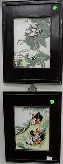 Two Chinese porcelain framed plaques, one having painted roosters and bamboo trees, the other with cranes in scrolling pine tree, sight size: 11 1/2""