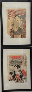 Four Japanese colored woodblock prints to include Kunisada Toyokuni diptych, chapter 8, Hanonoem of the Tale of a Goyi; Toyohara Chikanobu (1838 - 191
