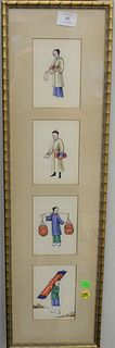 Set of 10 Chinese figural paintings in 3 frames, all on tissue paper depicting Chinese figures completing various tasks, 19th C., unsigned, each panel