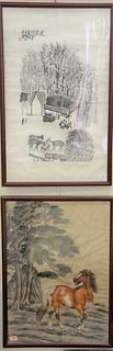 Eight piece lot to include group of five Japanese appliqued lacquer panels, having carved applique bone, mother of pearl and wood designed, depicting
