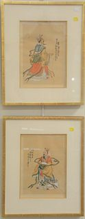 Eleven piece lot to include six framed Asian pieces: two square watercolor on silk landscapes, seal mark lower right; Japanese watercolor on cloth, mo