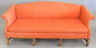"Two-piece lot to include Chippendale-style upholstered sofa, lg. 76"" along with upholstered arm chair."
