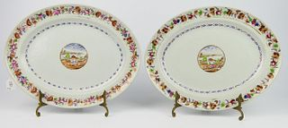 PAIR OF CHINESE EXPORT PORCELAIN OVAL PLATTERS