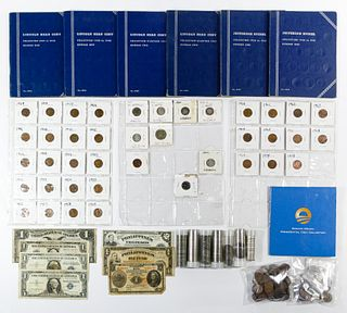 US Currency, Coin and World Coin and Currency Assortment
