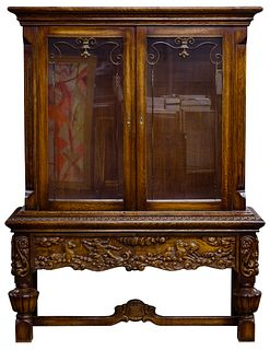 Carved Walnut Stained Display Cabinet