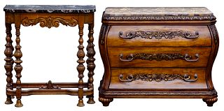 Carved Wood and Marble Top Bachelor Chest and Console Table