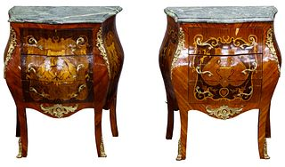 Mahogany, Satinwood and Ormulu Marble Top Night Stands / End Tables