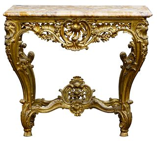 Louis XV Style Carved and Gilded Console Table