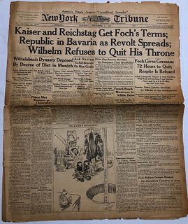 NY Tribune Nov 9, 1918 Kaiser and Reichstag newpaper