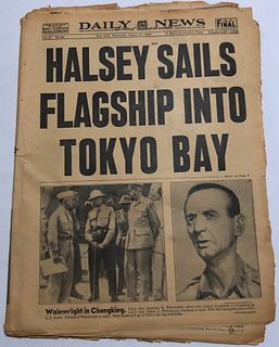 1945 Newspaper Edition WWII/ Halsey sails into Tokyo