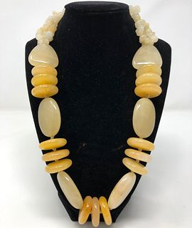 Sterling and Yellow Semi-Precious Beaded Necklace