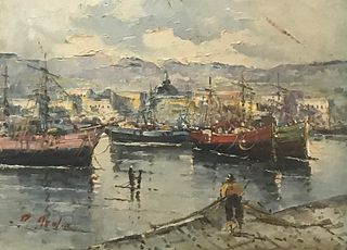 S. Lattner  20th C.Oil Painting of Fishing Harbor