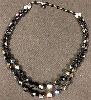 Beautiful Black Glass Beaded Necklace
