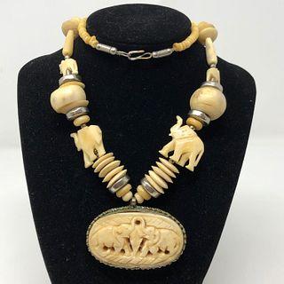 Exquisite Vintage Bone Elephant Necklace