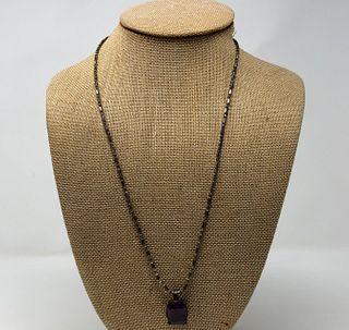 Vintage Amethyst Set  In Sterling Necklace
