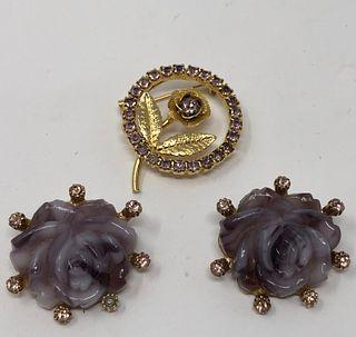 Amethyst Hued Earrings and Brooch