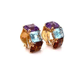 18k Gold, Topaz, Aquamarine & Amethyst Earrings