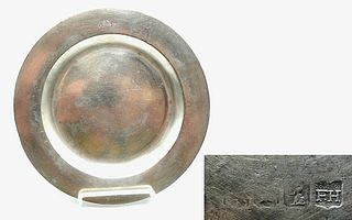 Marked English Pewter Plate