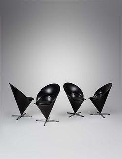 Verner Panton  (Danish, 1926-1998) Set of Four Cone Chairs, Frem Rojle, Denmark