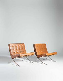 Ludwig Mies van der Rohe (German-American, 1886-1969) Pair of Barcelona Lounge Chairs, Knoll International, USA