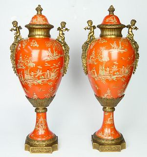 Pr CHINESE GILT BRONZE MOUNTED COVERED URNS