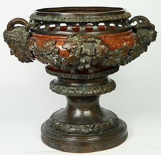 LARGE BRONZE & ROUGE MARBLE SATYRS URN