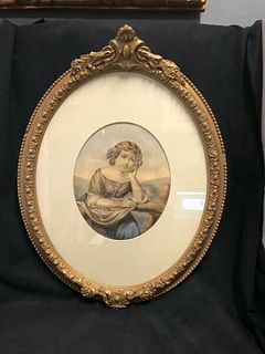 Victorian Hand Colored Engraving of a young lady in oval frame