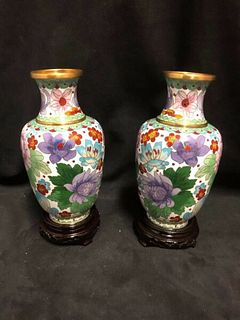 A PAIR OF COLORFUL CHINESE CLOISONNÌä  VASES WITH WOODEN BASES 7""